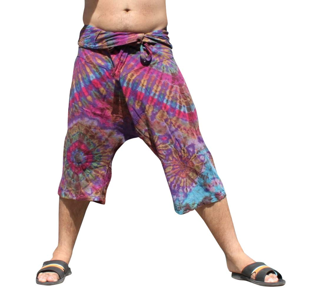 Full Funk Cotton Tie Dyed Natural Colorful Thai Fisherman Wrap 3/4 Leg Pants, Small, Rebecca Purple by Full Funk