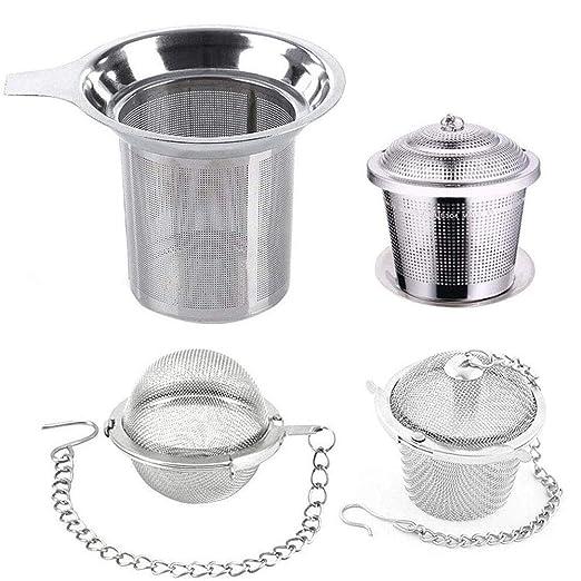 HTTOAR Infusor de Té en Acero Inoxidable(Pack de 4 Infusores) Infusores de té para té Suelto Los Mejores coladores de té para té Suelto Filtro te | ...