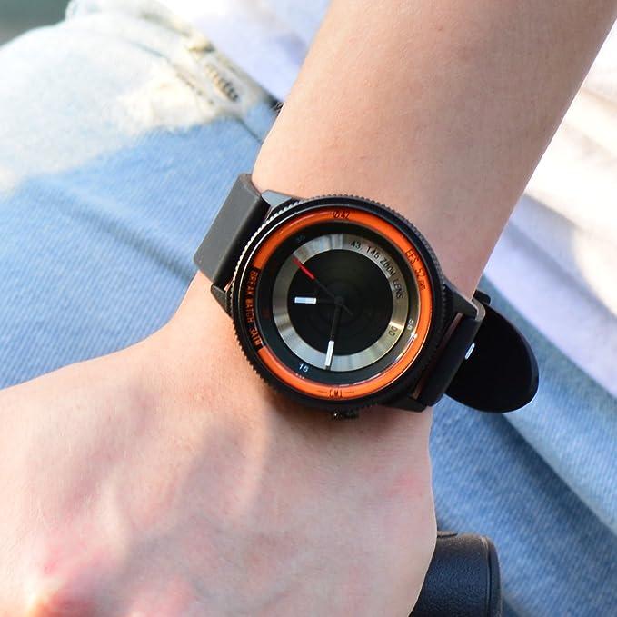 Amazon.com: BREAK Men Women Leather Strap Wristwatch Creative Photographer Sport Fashion Quartz Watches: Watches