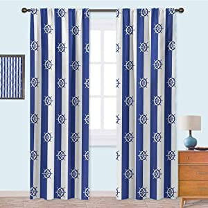 YUAZHOQI Rod Pocket Curtains Sailor Stripes Breton with Silhouettes of Ships Wheels Classic Artwork Blackout Draperies for Bedroom 108 Inches Long Royal Blue White