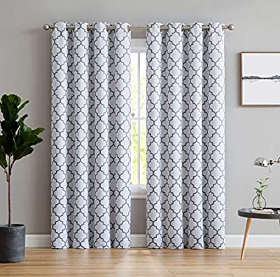 "HLC.ME Lattice Print Thermal Insulated Blackout Window Curtain Panels - Pair - Chrome Grommet Top - 63"" L, 84"" L, 96"" L, 108"" L"
