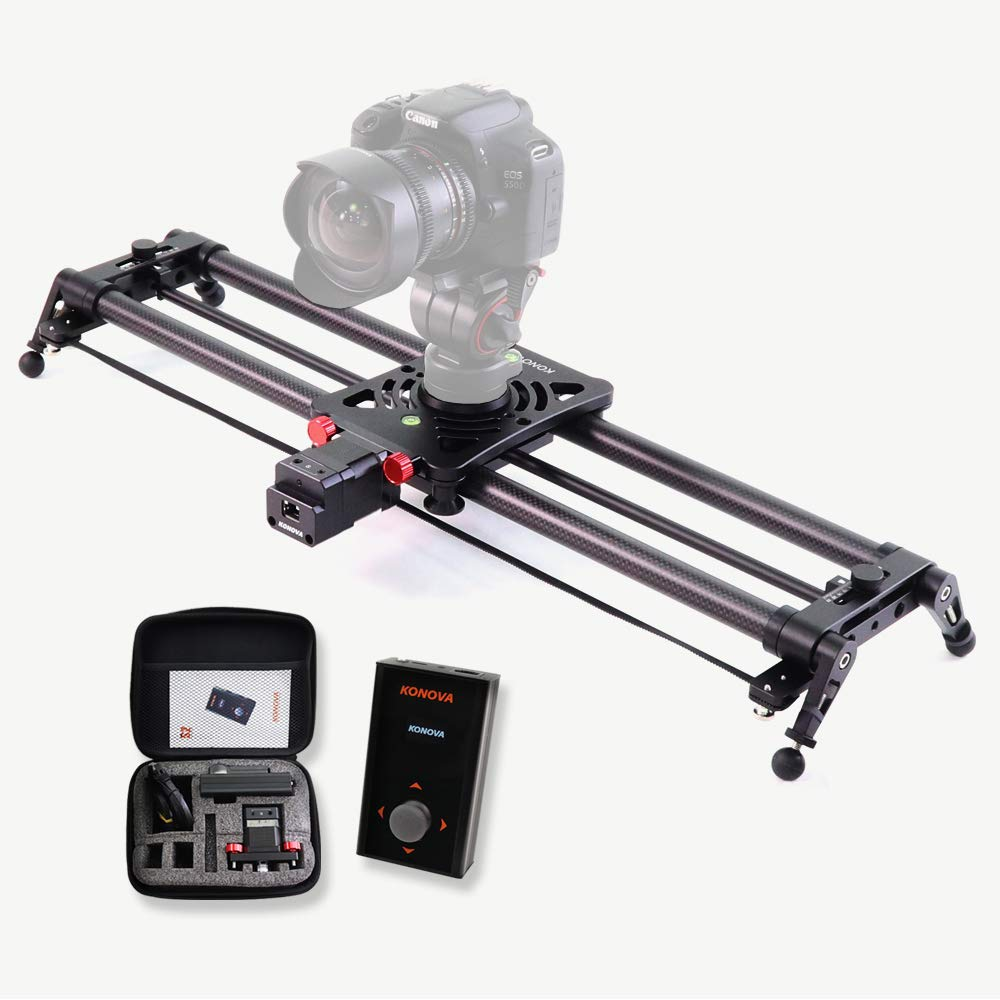 KONOVA Motorized Slider P1 Series Carbon Slider Dolly with S2 for Parallax Panorama Shot and Supports Camera, Gopro, Mobile Phone, DSLR, Mirrorless with Bag (60cm (23.6 inch)) by KONOVA
