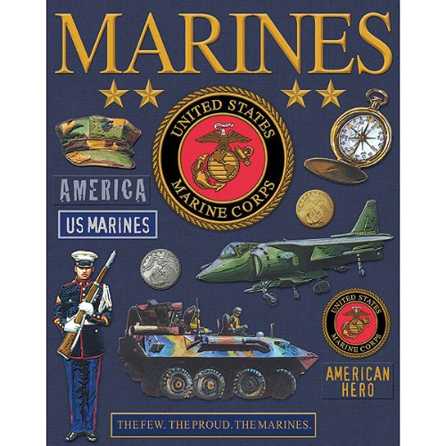 Military Deluxe Foil Embossed Stickers-Marines 1 pcs sku# 628022MA