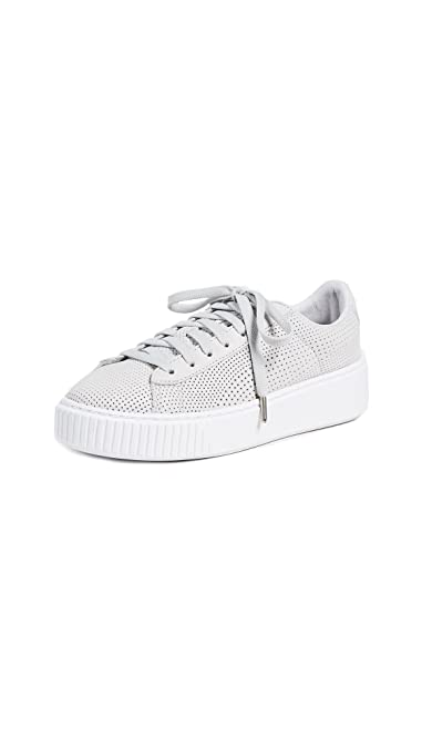 PUMA Women's Basket Platform Perforated Sneakers, Grey Violet Silver, 7 B(M) US