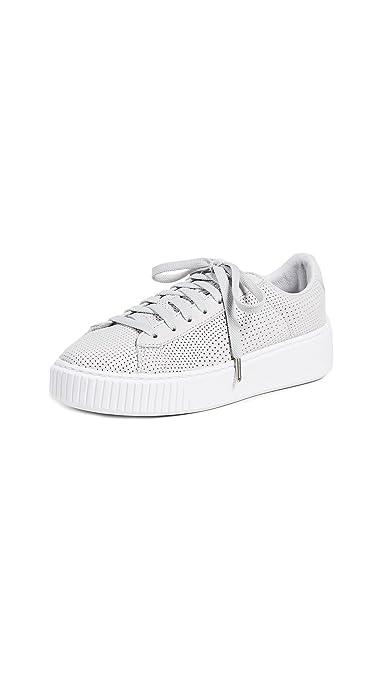 PUMA Women's Basket Platform Perforated Sneakers, Grey Violet Silver, 7 B(M) US