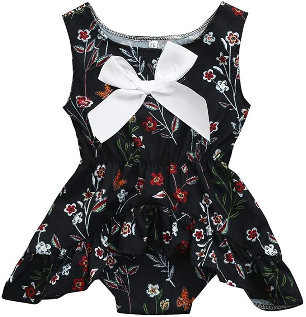 Moonker Girls Dresses,Cute Newborn Infant Baby Girls Summer Floral Print Outfits Clothes Romper Jumpsuit 0-18M
