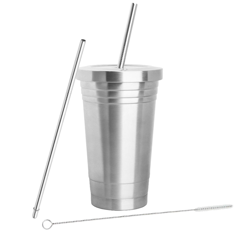 Inspired Home Living - Bicchiere in acciaio inox (473 ml) con 2 cannucce, spazzola per pulizia e a doppio strato isolante –  Bicchiere da viaggio ideale per bevande calde e fredde Breakthrough Premium Products IHLSST16OZ