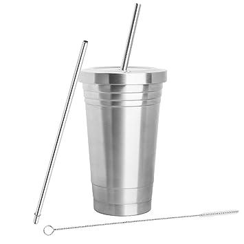 Inspired Home Living acero inoxidable vaso (16oz) con 2 pajitas, cepillo de limpieza y doble capa aislamiento – Vaso para bebidas frías y calientes ...
