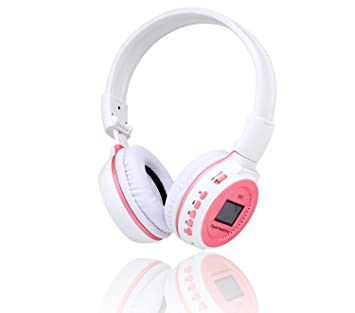 Gearmax® Auricular de Diadema Plegable Estéreo Inalámbrico con Pantalla LCD Información de Seguimiento, Digital SD Reproductor de MP3 y Ranura de TF(Rosa): ...