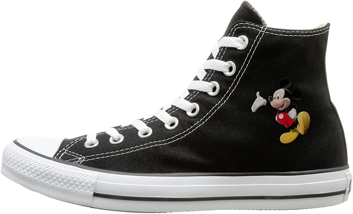 Sakanpo Cartoon Mickey Mouse Canvas Shoes High Top Design Black Sneakers Unisex Style