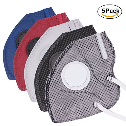 Mask Carbon Fiber (Muryobao Mouth Mask Anti Pollution Mask Unisex Outdoor Protection N95 4 Layer Filter Insert Anti Dust Mask With Valve Filter For Men Women 5 Pack Grey Black White Blue Red)