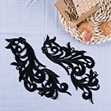 Wholesale Polyester Colorful Embroidered Floral Lace Fabric Applique Patch Leaves 2.8 Inch Width 8.7Inch Length (Black)