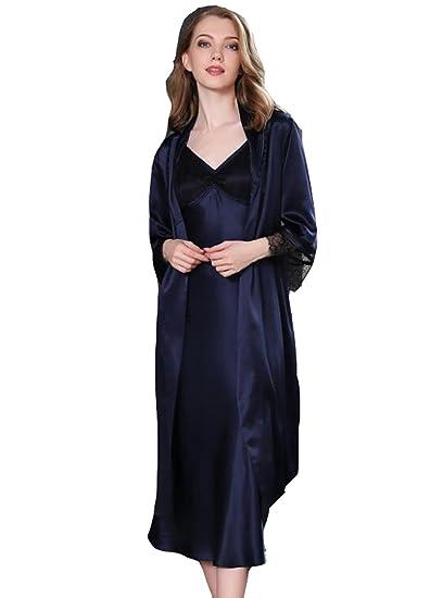 20f5074798 Amazon.com  Sunshine 100% Mulberry Silk Pajamas V-Collar Sexy Homedress 19  MM Silk Night-Robe Sleepwear  Clothing