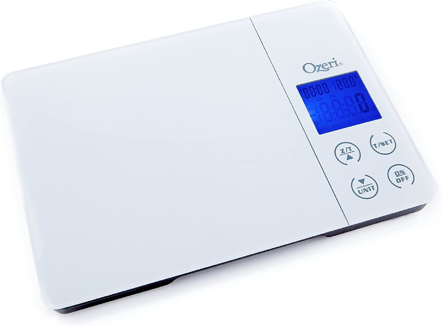 Ozeri Gourmet Digital Kitchen Scale in Tempered Glass - with Timer, Alarm and Temperature Display