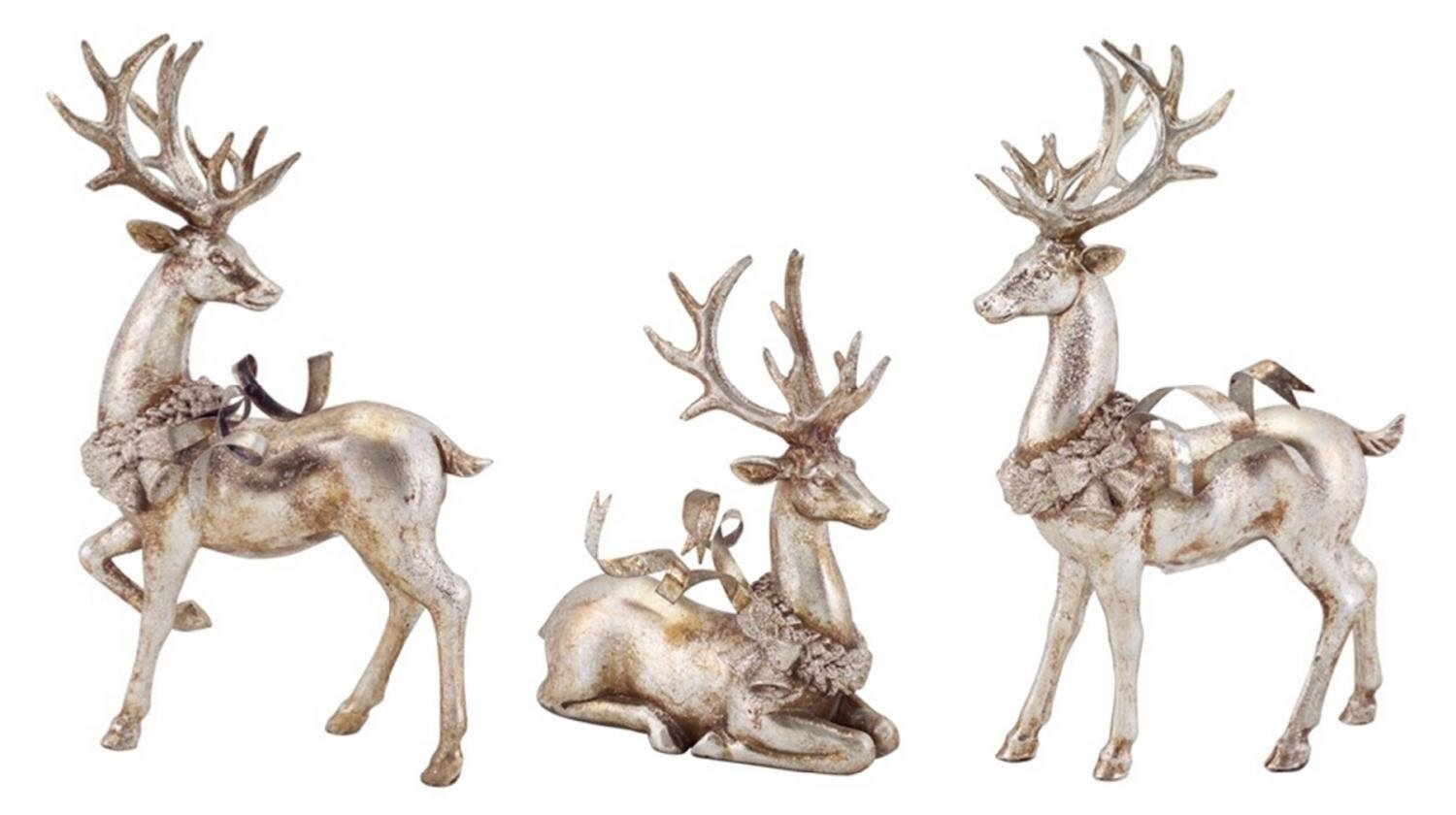 Set of 3 Distressed Silver Reindeer with Wreath Table Top Christmas Decorations 9''-13''
