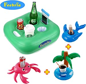 FEEBRIA Inflatable Floating Drink Holder with 6 Holes Large Capacity & Green Material,Drink Float for Pool Party Beach(4 Pack)