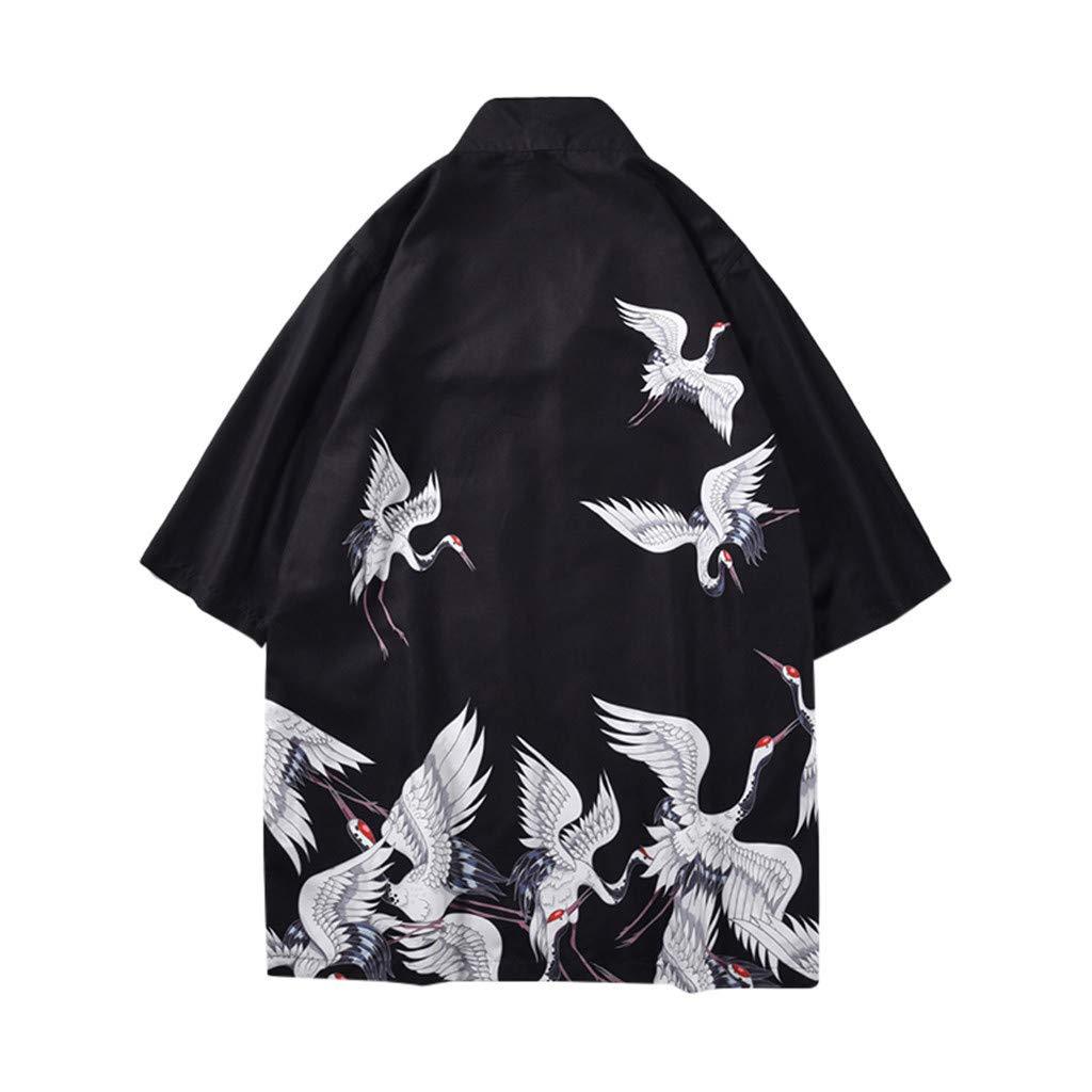 Hot Spring Clothing Bsjmlxg Fashion Lovers Individuality Print Top Blouse Kimono Japonism Festival