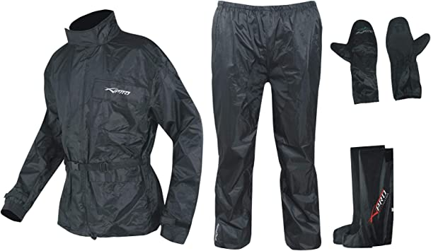 Tuta Completo antipioggia giacca+pantalone nero per moto scooter bici taglia M//L