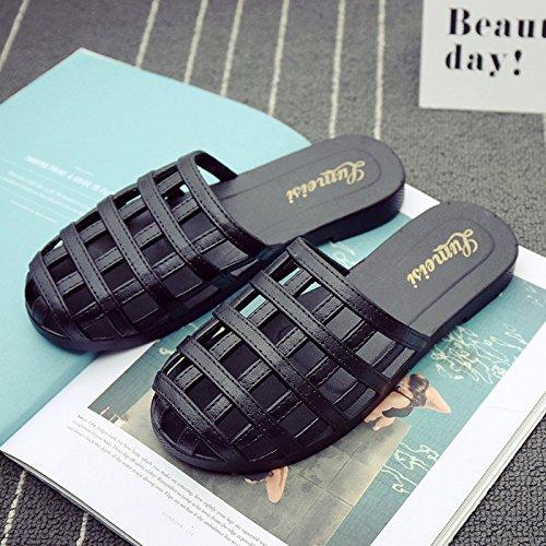 DogHaccd Zapatillas,La Sra. fresco verano zapatillas elegante casa de estancia con una cubierta de plástico antideslizante zapatillas playa Marea hembra Negro2