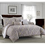 Tribeca Living Fiji 5 Piece Egyptian Cotton Paisley Printed Duvet Cover Set, King, Chocolate/Grey
