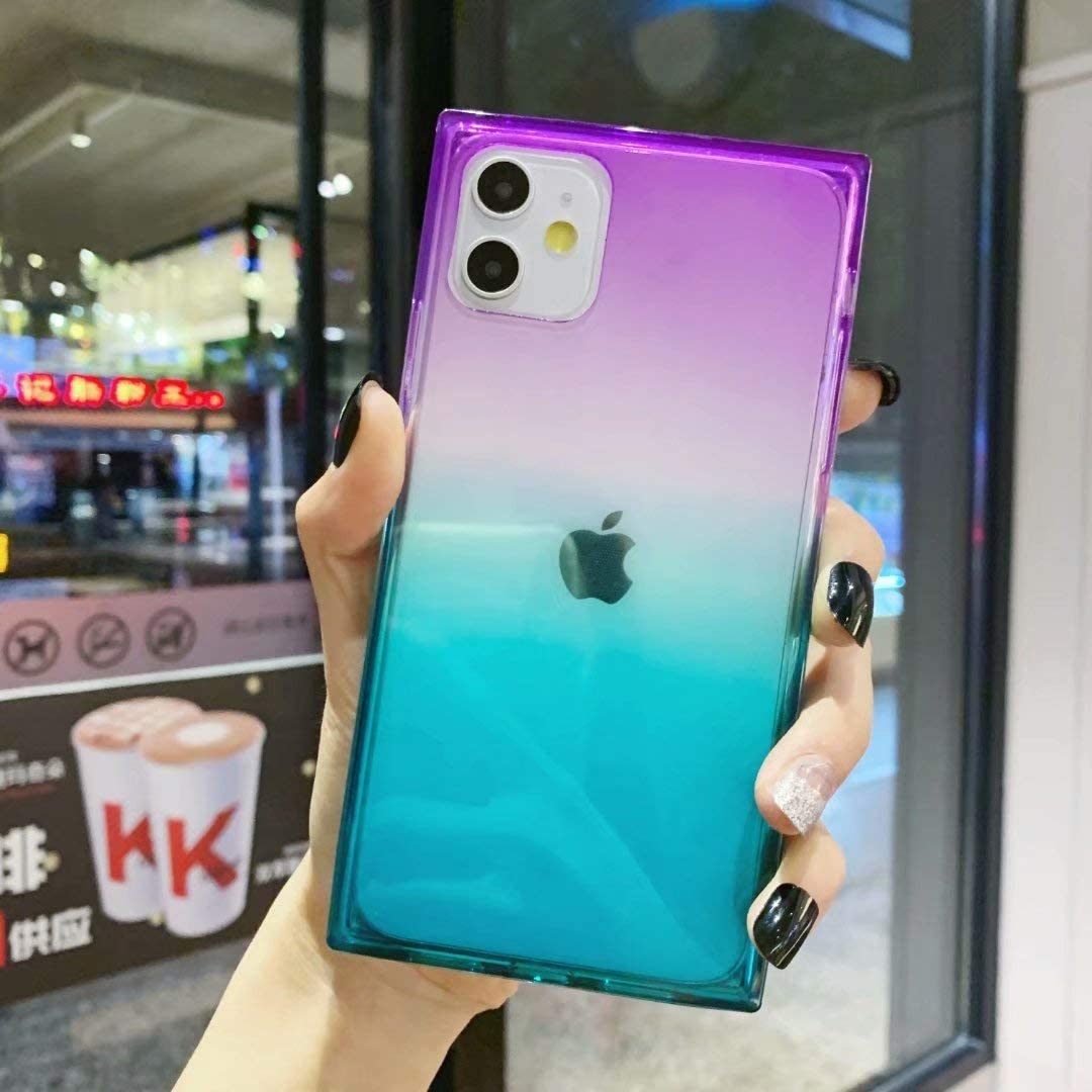 iPhone 11 Case,Tzomsze Clear Square Case Cute Gradient Slim Silicone Transparent Reinforced Corners TPU Cushion Cover Case for iPhone 11 2019 [6.1 inch]-Purple Green