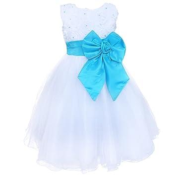 IEFiEL Kids Big Bowknot Flower Girls Dresses Vintage Wedding Bridesmaid Party Christening Dress Blue 2