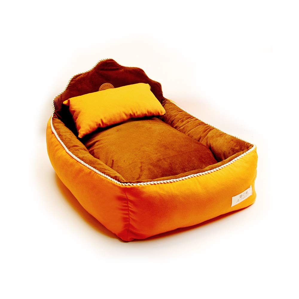orange Medium orange Medium YQQ Kennel Cat Nest Pet Bed Cat Bed Pet Sofa Pet Supplies Washable PP Cotton (color   orange, Size   M)