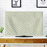 Auraisehome Television Protector Circles and Polka Dots on Green Background Symmetric Pattern Light Green Teal Baby Television Protector W20 x H40 INCH/TV 40''-43''