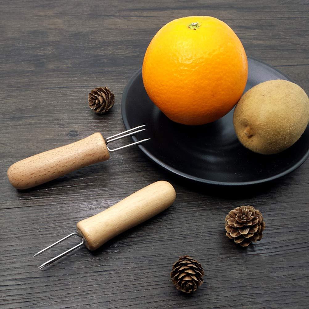 BESTONZON - Pinchos de acero inoxidable para maíz en el cobre, soportes para barbacoa, horquillas de frutas: Amazon.es: Hogar