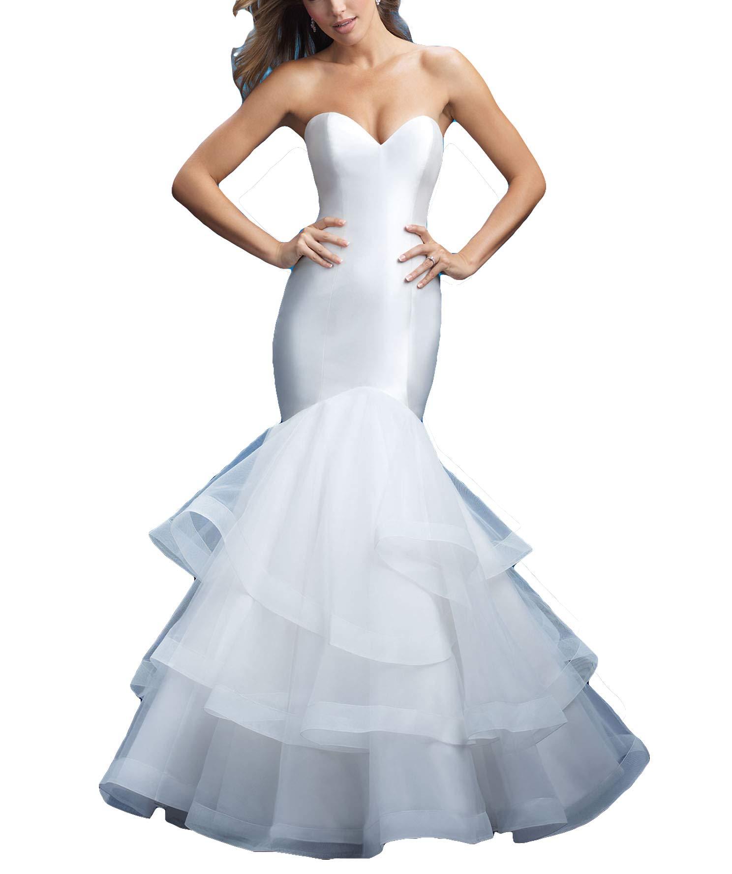 Fenghuavip V-Neck Slim Wedding Dress Long Train Satin Wedding Gowns Brides