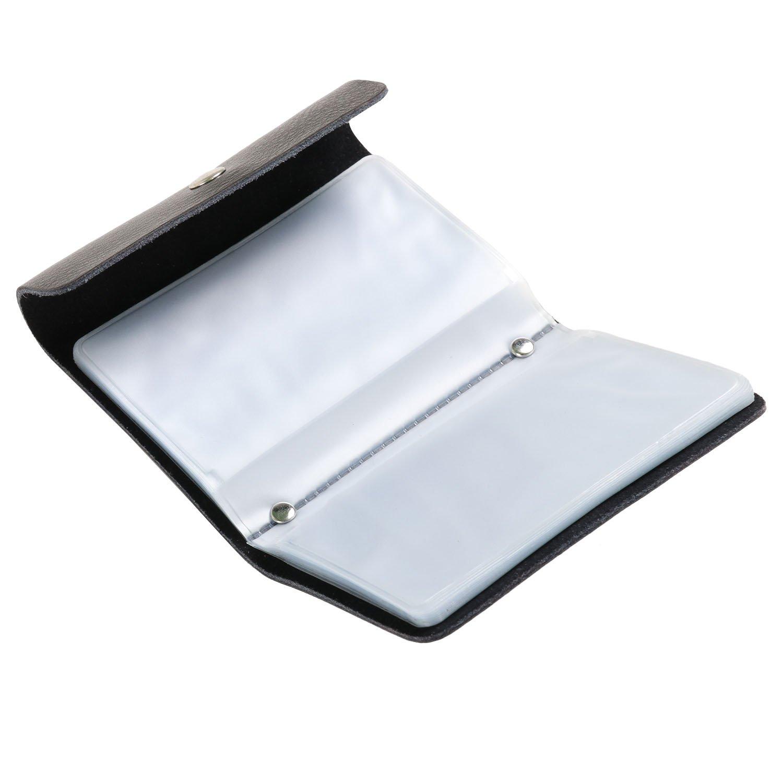 TRIXES Kreditkartenetui aus schwarzem Kunstleder mit 26 durchsichtigen Einzelh/üllen