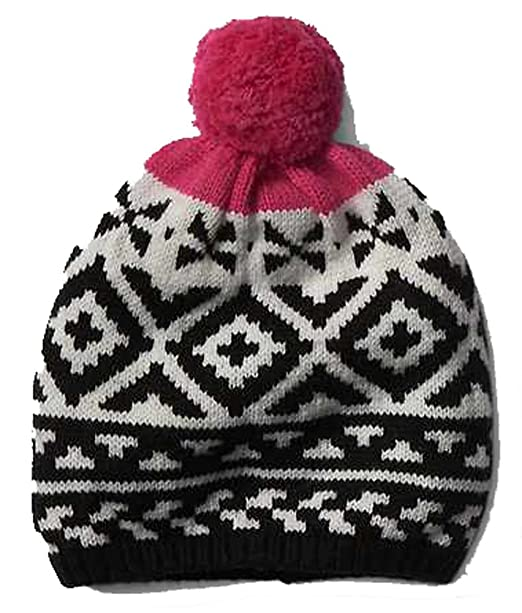0b835f641 Gap Womens Black White Pink Fair Isle Pom Pom Merino Wool Blend ...