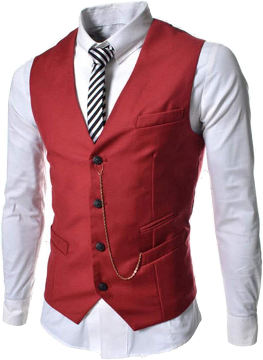 Alion Mens 4 Button Suit Separate Vest Slim Fit V-neck Waistcoat 6 M