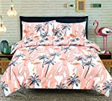 Luxury Flamingo Duvet Quilt Cover Bedding Set | Reversible Design | Comfortable Soft Poly Cotton Bed Linen | Machine Washable (Peach, King)