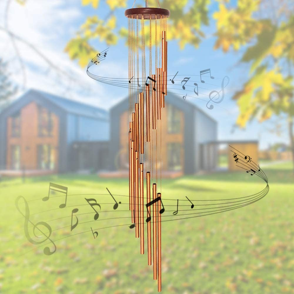 """econoLED Wind Chimes, Large Wind Chimes, Amazing Garden Outdoor Handmade Chimes 36"""" with 18 Aluminum Alloy Musically Tubes & S Hooks for Garden, Patio, Porch or Backyard Xmas Decor"""