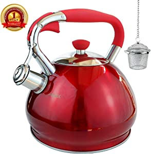 Whistling Tea Kettles Stovetop with Boils Faster Bottom,Surgical Brushed Stainless Steel Finish Whistling Teapot Induction, 3 Quart,1YR Warranty, 1 Tea Maker Infuser Included by Kmatee,Red