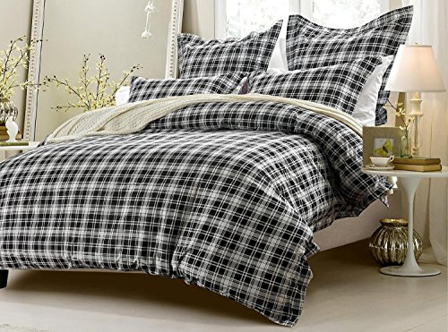 5pc Black and White Plaid Duvet Cover Set Style # 1028 - King/California King - Cherry Hill (California King Plaid Comforter)