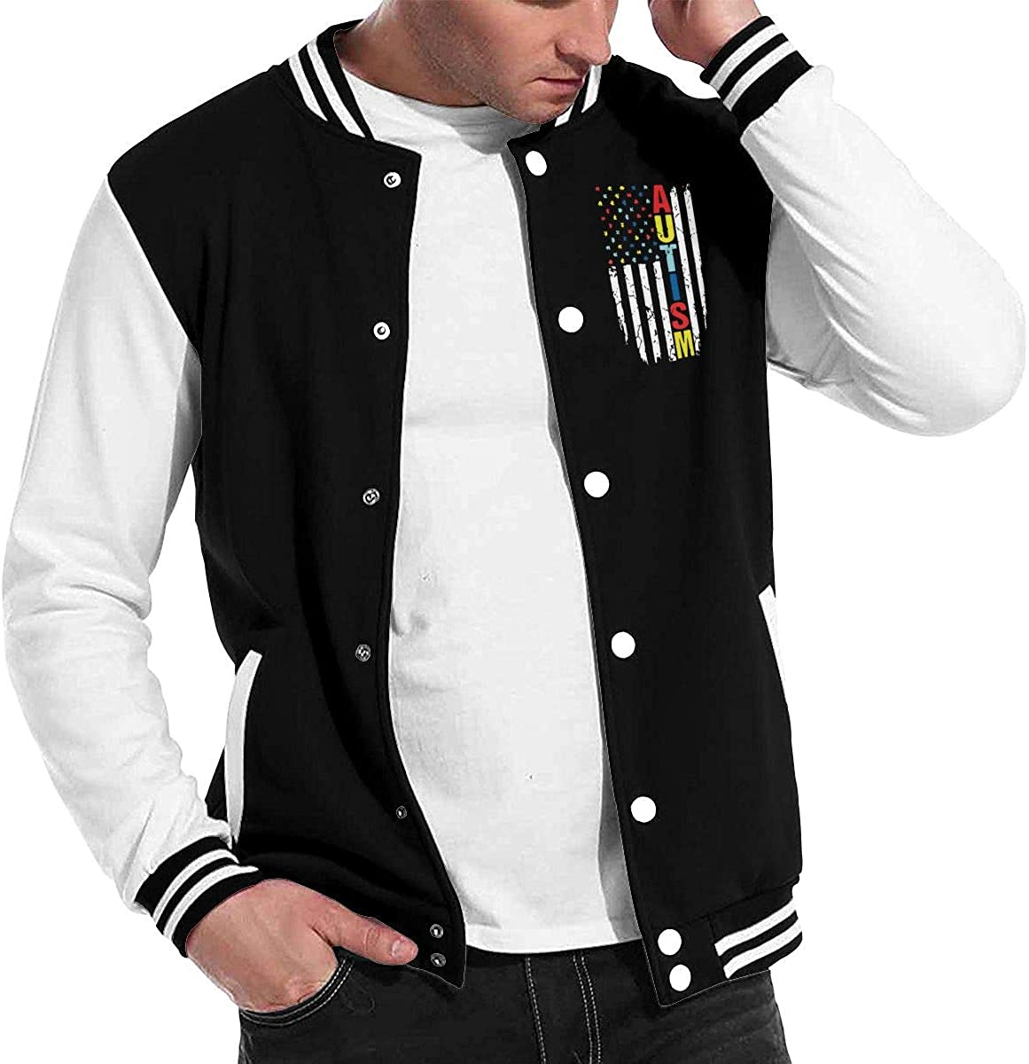 Men Women Varsity Premium Jacket Overcoat Autism Awareness American Flag Baseball Jacket Uniform