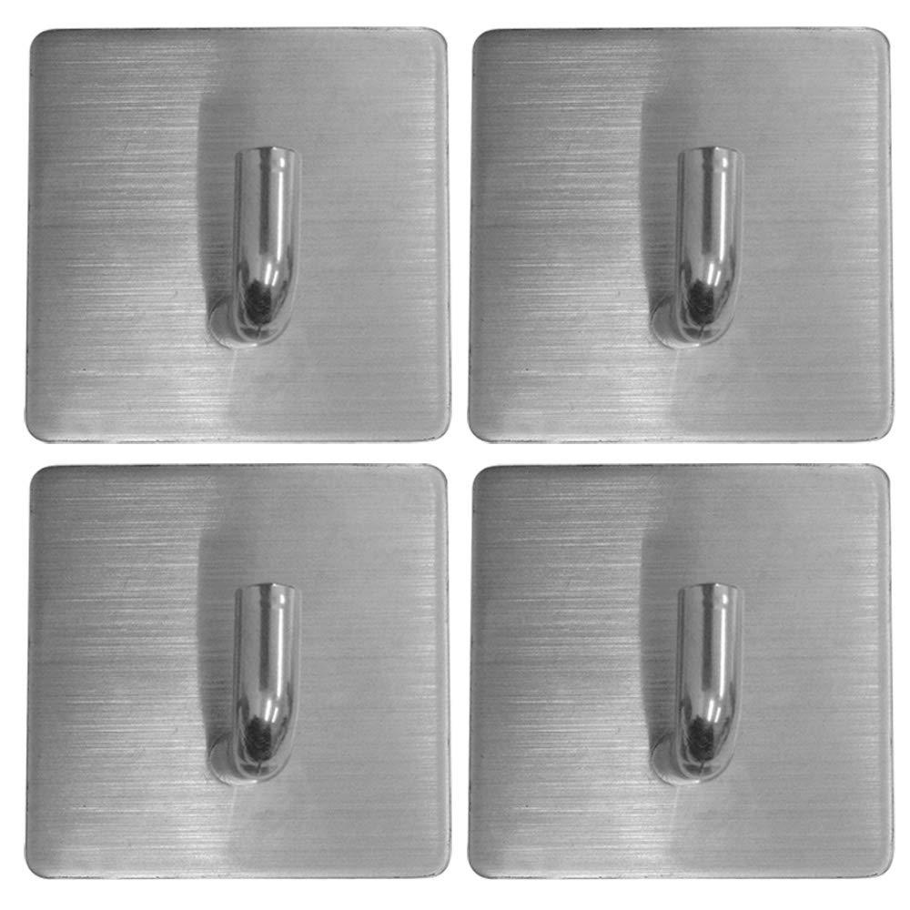 Yezala Adhesive Hooks/Bathroom Hook - Towel Hooks Heavy Duty Wall Hooks Stainless Steel Ultra Strong Waterproof Hanger for Kitchen Garage Lockers Office 4 Pieces