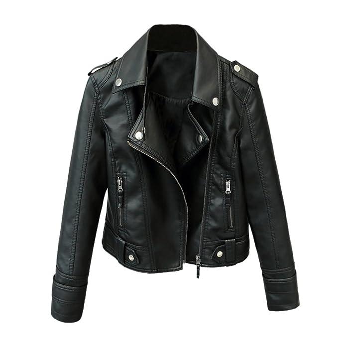 iBaste PU Lederjacke Damen Bomberjacke Leather Jacket für damen Revers Bikerjacke Kurzjacke Herbstjacke