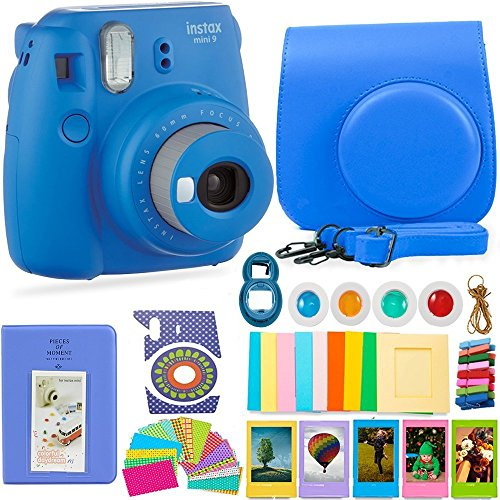 FujiFilm Instax Mini 9 Camera and Accessories Bundle – Instant Camera, Carrying Case, Color Filters, Photo Album, Stickers, Selfie Lens + More (Cobalt Blue)