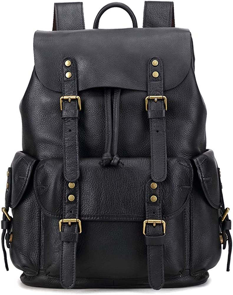 Waterproof 15.6 inch Laptop Backpack Vintage Genuine Leather Casual Daypack for Travel Business Outdoor and More