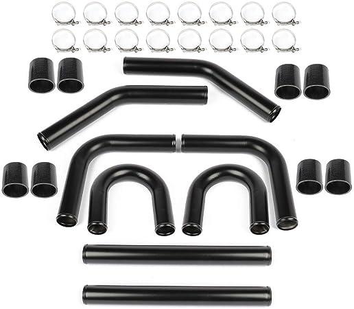 2pcs U-pipe 16 pcs T-Clamps 2.5 Aluminum Universal Intercooler Turbo Piping Pipe Kit black 8 pcs Straight hose