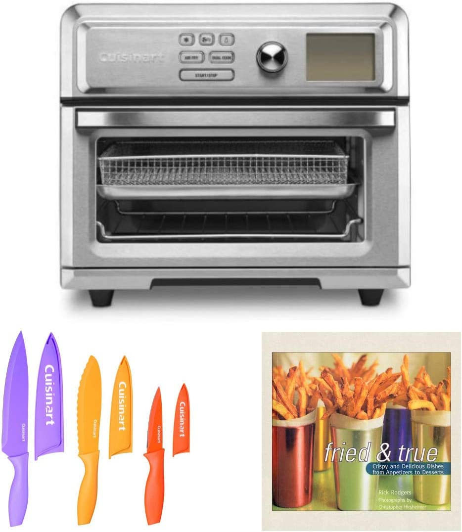 Cuisinart Digital TOA-65 AirFryer Toaster Oven (Silver) with 6-Piece Nonstick Chef Knife Set and Fried Cuisine Cookbook (3 Items)