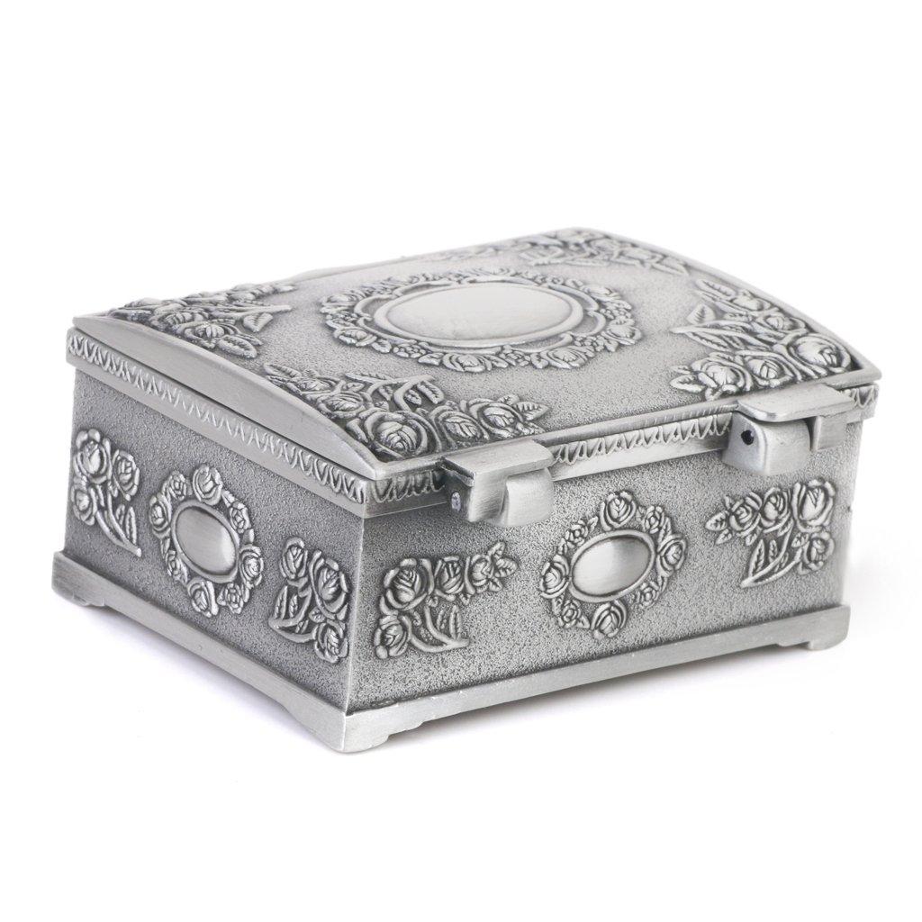 Caso Caja Del Anillo De La Joyeria De La Forma De Lata Del Regalo Del Vintage Cofres Del Tesoro De Plata Antigua: Amazon.es: Hogar