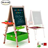 Deluxe Easel for Kids,Gimilife Folding Wooden Art Easel with Chalkboard, Whiteboard, and Storage Bins or Tray, Standing Easel with Magnetic Letters for Early Education (Wood, Fit for 2-14 Years Old)