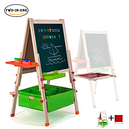 Beau Gimilife Deluxe Easel For Kids, Folding Wooden Art Easel With Chalkboard,  Whiteboard, And