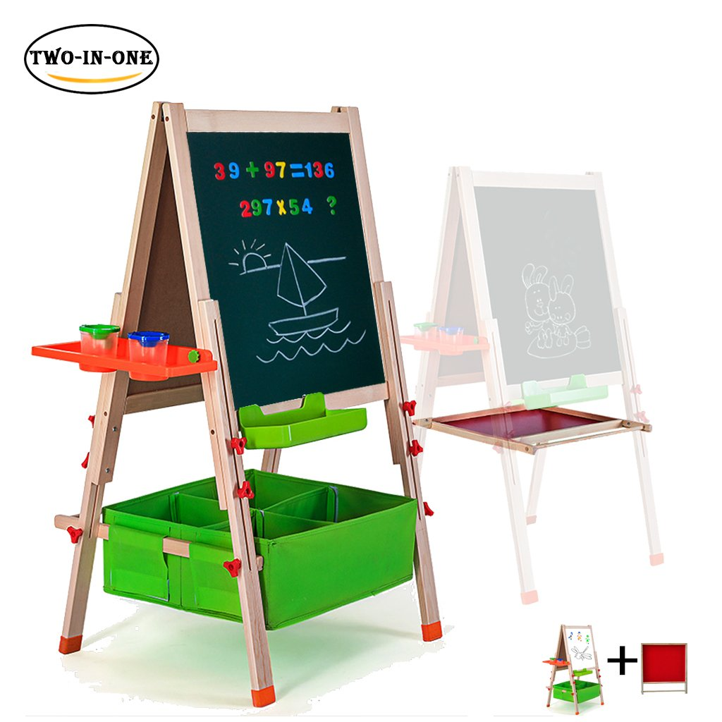 Deluxe Easel for Kids,Gimilife Folding Wooden Art Easel with Chalkboard, Whiteboard, and Storage Bins or Tray, Standing Easel with Magnetic Letters for Early Education (Wood, Fit for 2-12 Years Old)