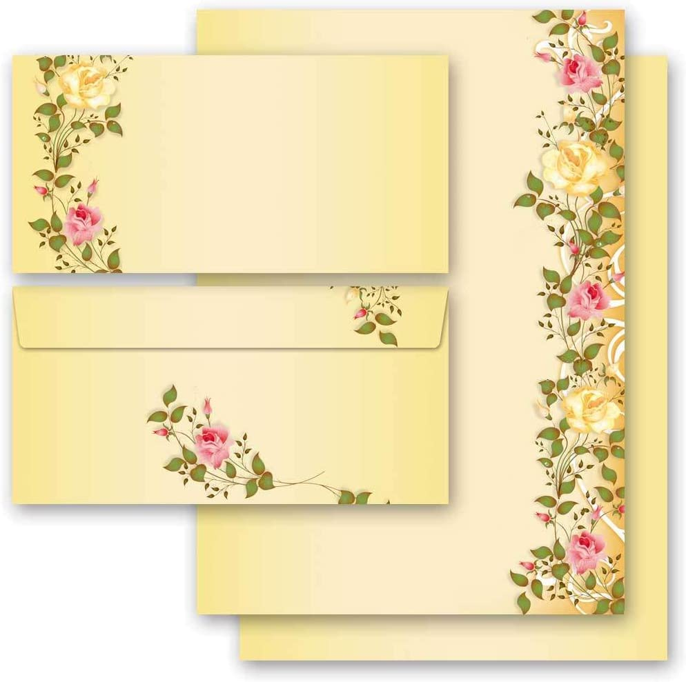 Paper-Media 100 Matching envelopes DIN Long windowless Motif-Stationery Sets Flowers /& Petals Flowers Motif Flower Mail 100 Sheets of Stationery Paper