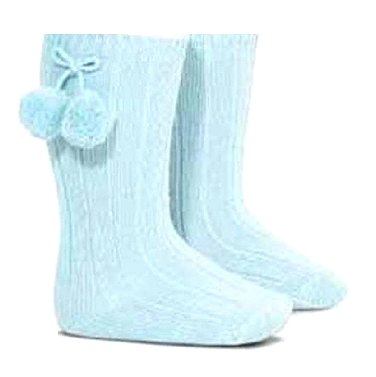 Baby Girls 1 Pair of Pom Pom Knee High Socks Pale Blue Newborn 3-6 6-12 Months